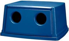 Glutton Bottle & Can Recycling Top, Rectangular, 23 x 26 5/8 x 13, Blue