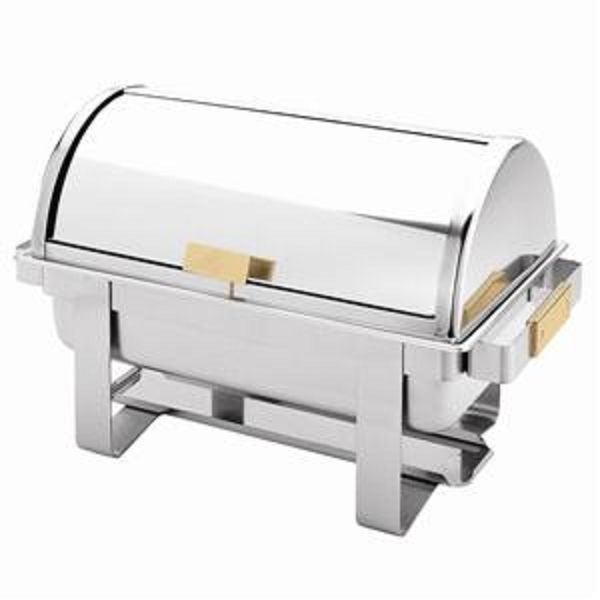 Gold-Accented Stainless Steel 8-Qt Dallas Chafer With Roll Top