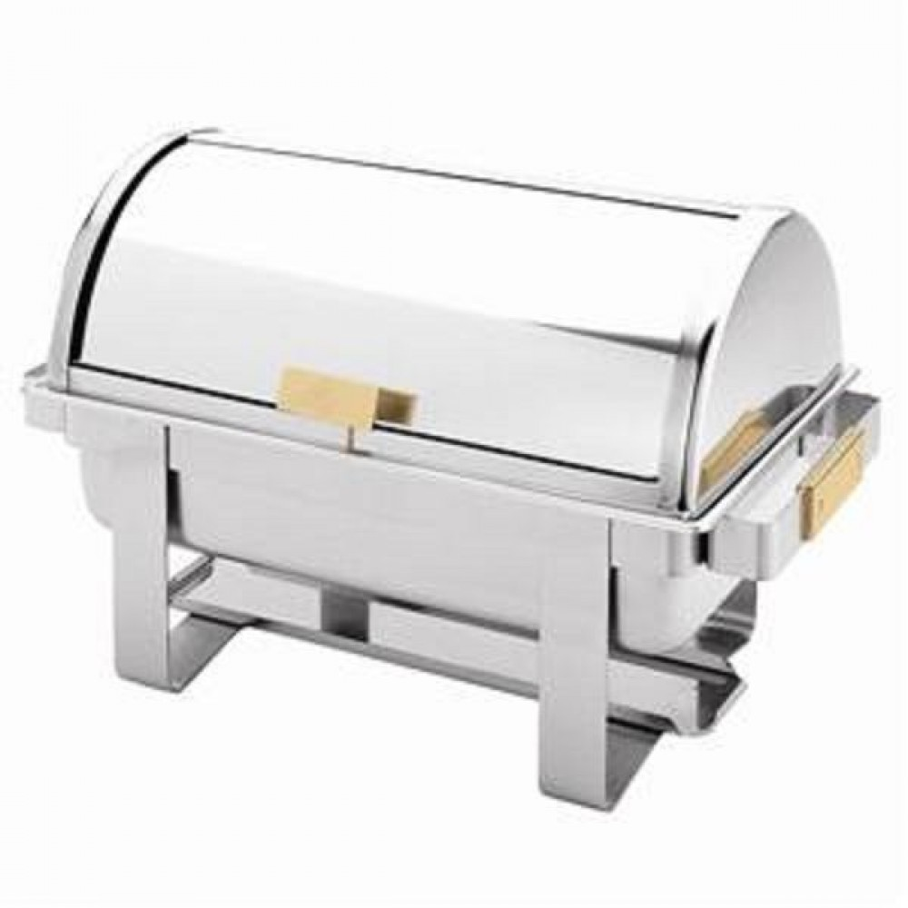 Thunder Group SLRCF0171G Gold-Accented Stainless Steel 8 Qt. Dallas Chafer with Roll Top