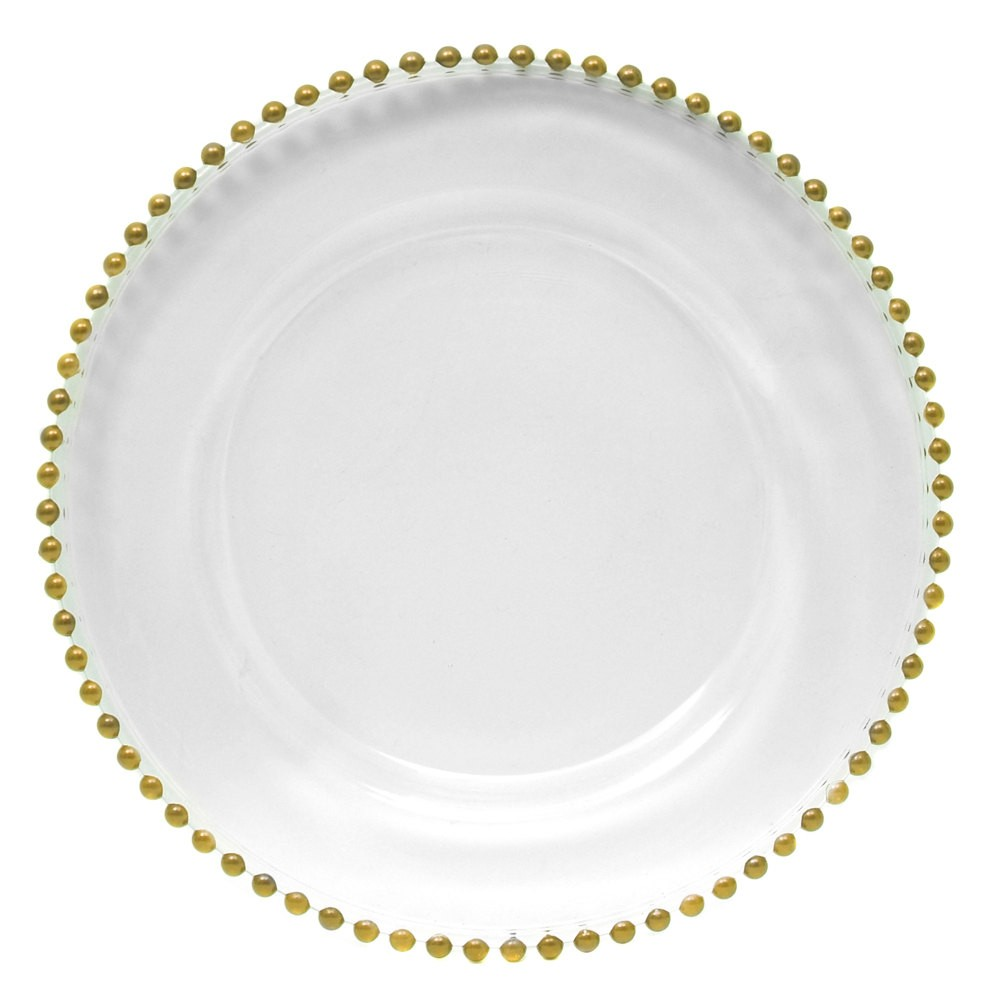 "Jay Import 1900007 Gold Glass Beaded 13"" Charger Plate"