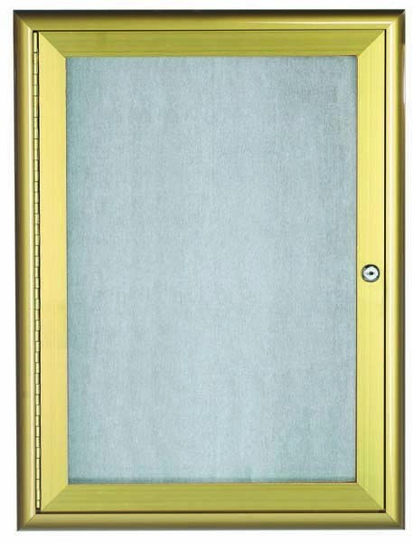 """Aarco Products OWFC2418G Gold Indoor/Outdoor Waterfall Series 1-Door Enclosed Bulletin Board, 48""""H x 18""""W"""