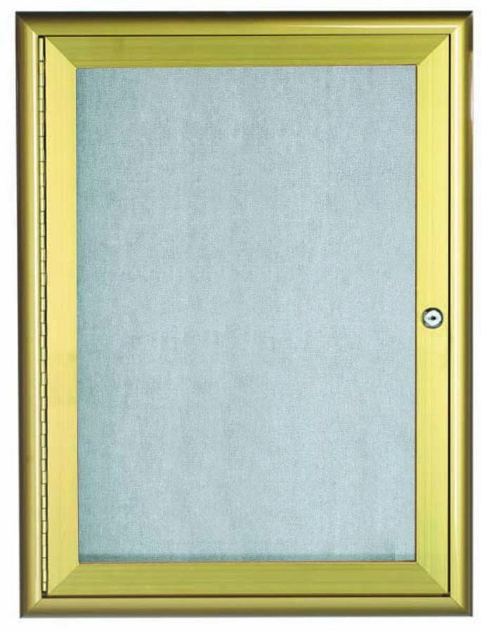"""Aarco Products OWFC3624G Gold Indoor/Outdoor Waterfall Series 1 Door Enclosed Bulletin Board, 36""""H x 24""""W"""