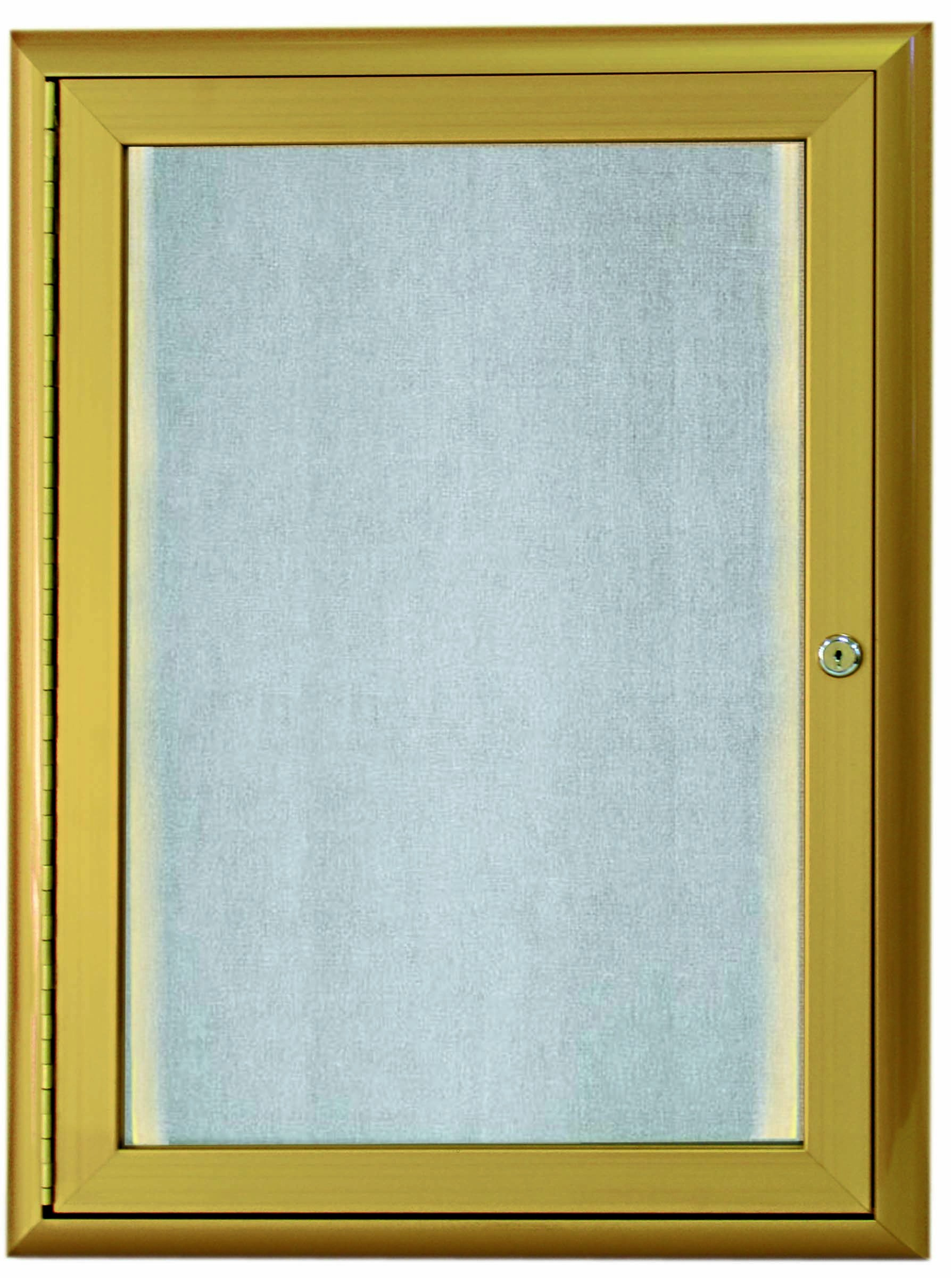 """Aarco Products LOWFC2418G 1 Door LED Lighted Enclosed Bulletin Board with Aluminum Waterfall Style Frame Gold, 24""""H x 18""""W"""