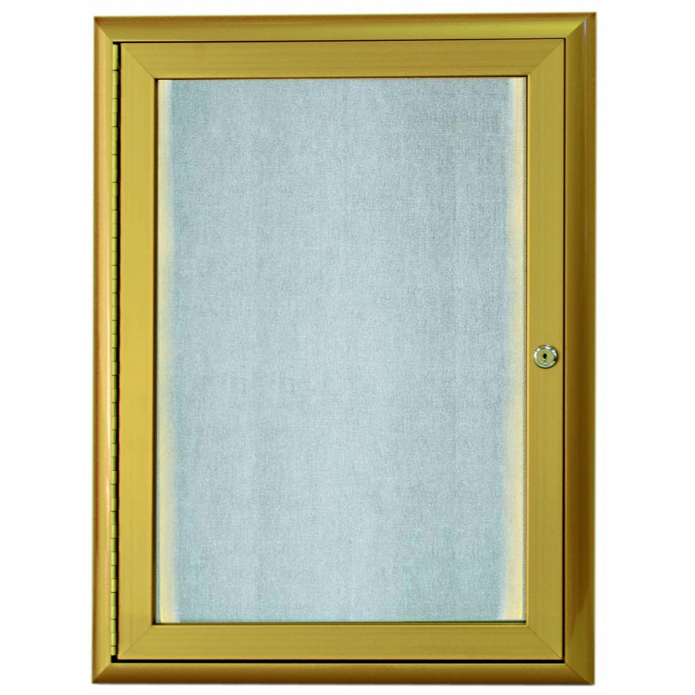 Gold Indoor / Outdoor Waterfall Series Enclosed Bulletin Board with LED Lighting- 24