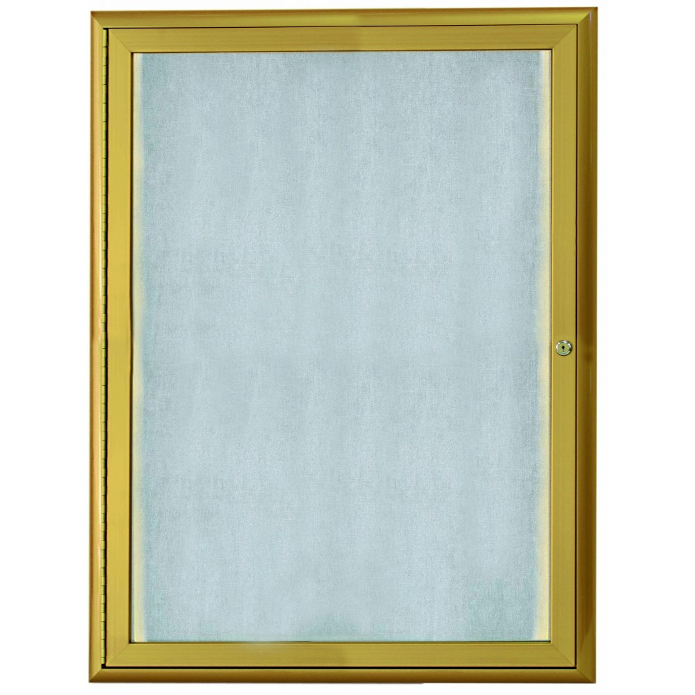 "Aarco Products LOWFC3624G 1 Door LED Lighted Enclosed Bulletin Board with Aluminum Waterfall Style Frame Gold, 36""H x 24""W"