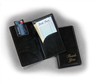 "TableCraft 59BK Gold On Black ""Thank You"" Check Presentation Holder 5"" x 9"""