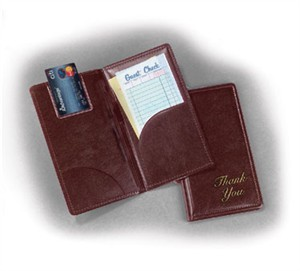 "TableCraft 59BR Gold On Brown ""Thank You"" Check Presentation Holder 5"" x 9"""