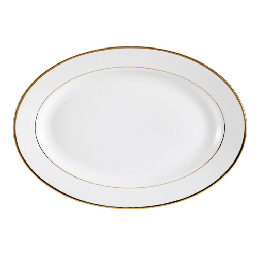 """CAC China gry-12 Golden Royal 10"""" Oval Platter,"""