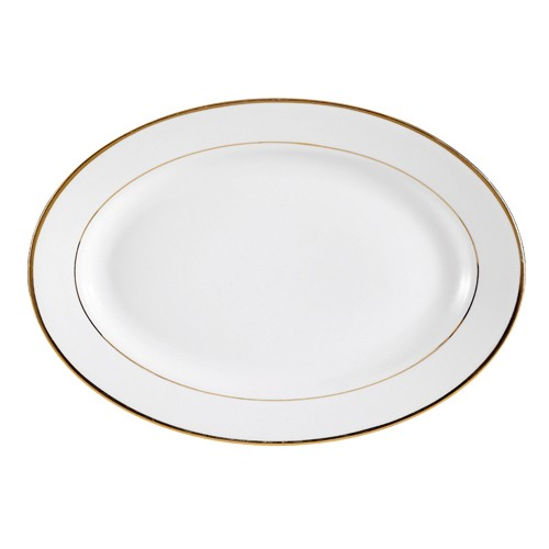 "CAC China gry-14 Golden Royal 14"" Oval Platter,"