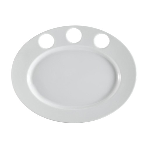 """CAC China RCN-GP51 Clinton Rolled Edge Sauce Platter for 3 Sauce Cups, 15"""" x 11 3/4"""""""
