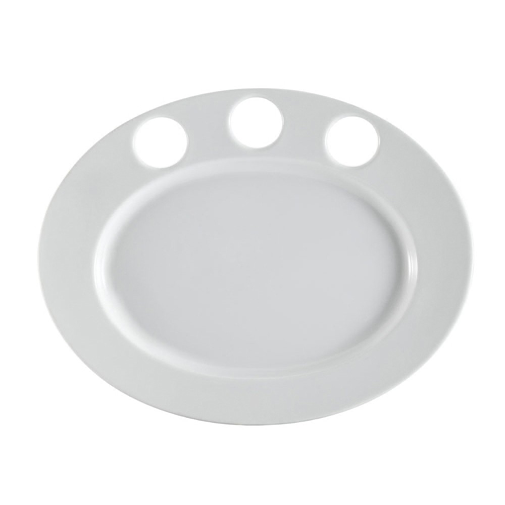 "CAC China RCN-GP51 Clinton Rolled Edge Sauce Platter for 3 Sauce Cups, 15"" x 11 3/4"""