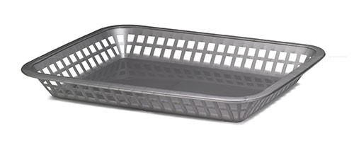 "TableCraft 1077GM Gunmetal Gray Grande Plastic Platter Basket, 10-3/4"" x 7-3/4"" x 1-1/2"""