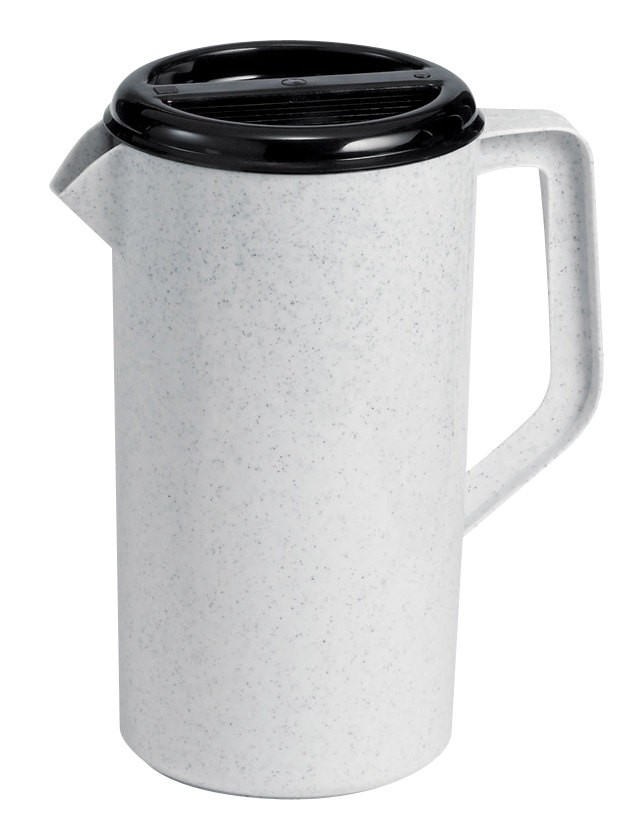 TableCraft 144GRT Granite 2-1/2 Qt. Plastic Pitcher with 3-Way Black Lid