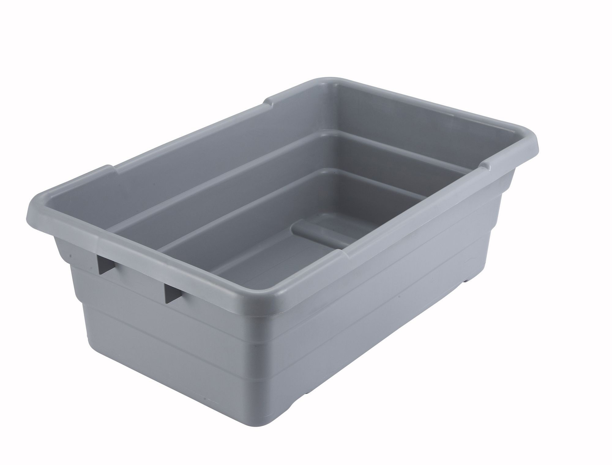 "Winco PL-8 Stackable Gray Lug Box 24-1/2"" x 15-3/4"" x 9"""