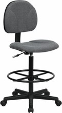 Gray Fabric Ergonomic Drafting Stool (Adjustable Range 26''-30.5''H or 22.5''-27''H)