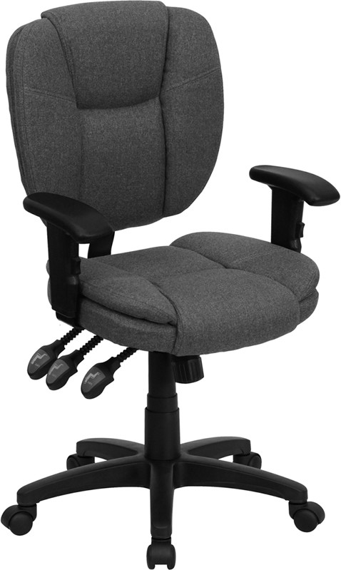 Gray Fabric Multi Function Task Chair with Arms