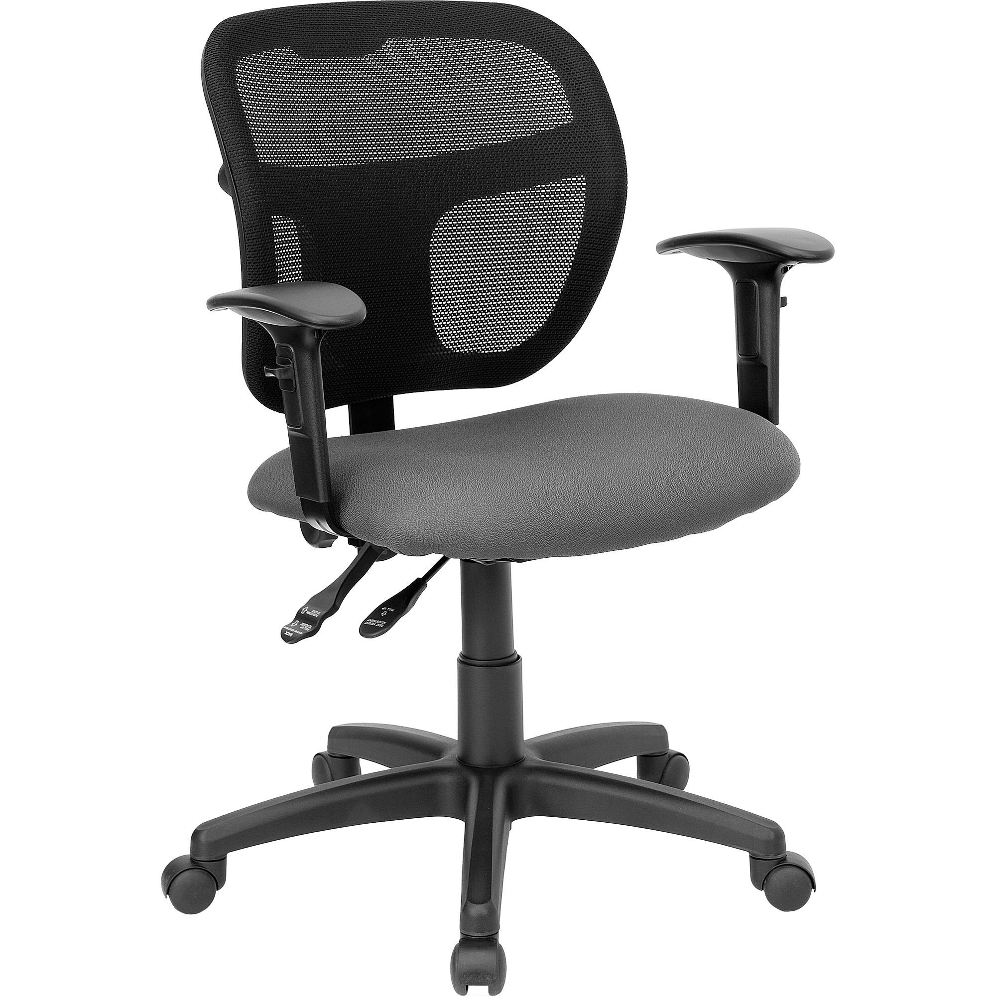 Flash Furniture WL-A7671SYG-GY-A-GG Mid-Back Gray Mesh Task Chair with Back Height Adjustment and Adjustable Arms