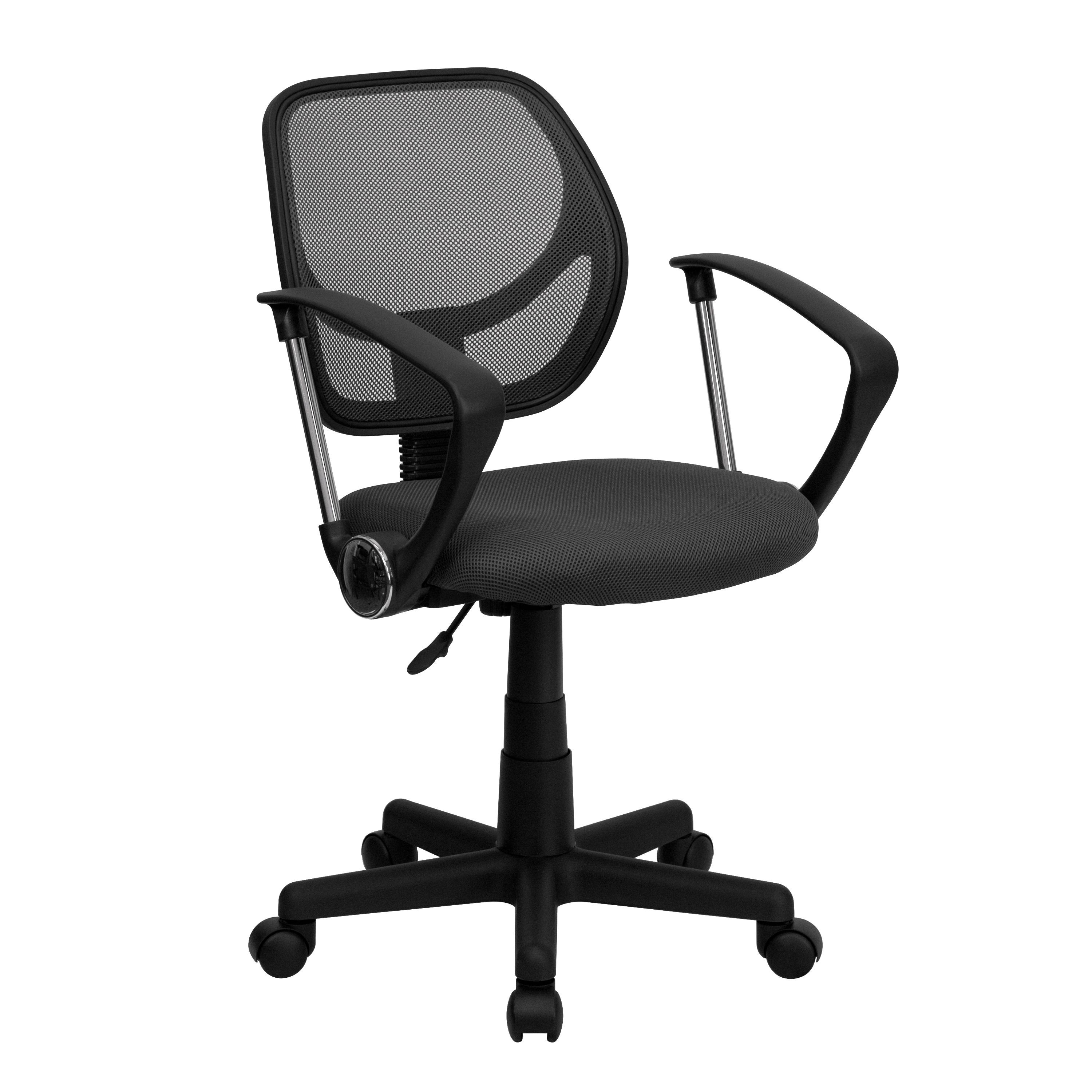 Flash Furniture WA-3074-GY-A-GG Gray Mesh Computer Chair with Arms