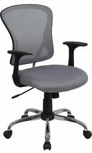 Flash Furniture H-8369F-GY-GG Mid-Back Gray Mesh Executive Office Chair with Chrome Base and Arms