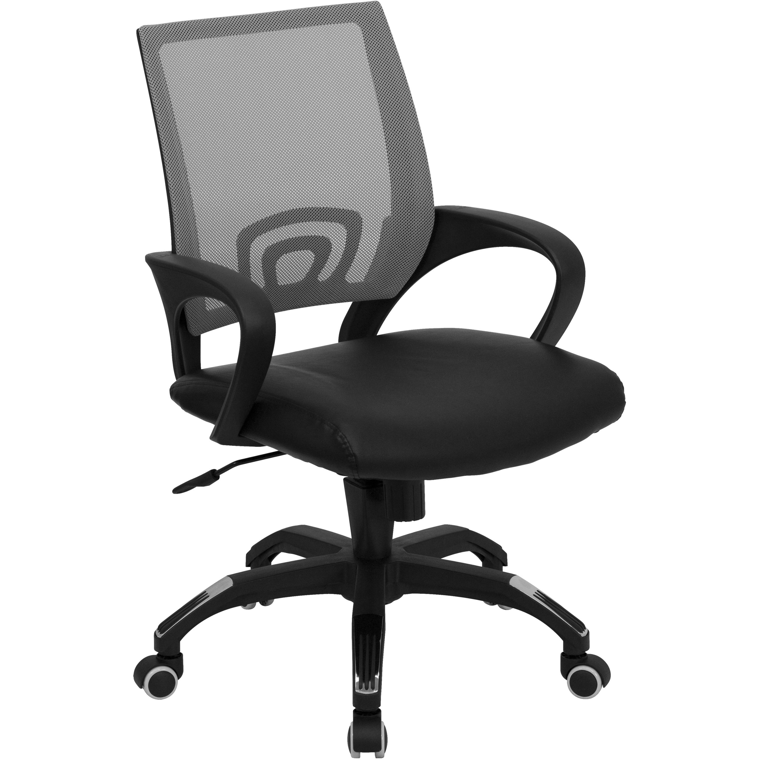 Flash Furniture CP-B176A01-GRAY-GG Gray Mesh Office Chair with Black Leather Seat