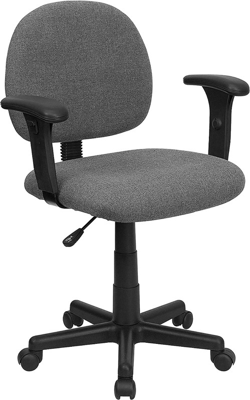 Gray Mid Back Ergonomic Task Chair With Adjustable Arms