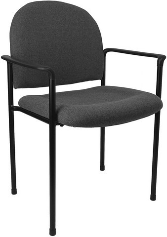 Gray Steel Stacking Chair with Arms