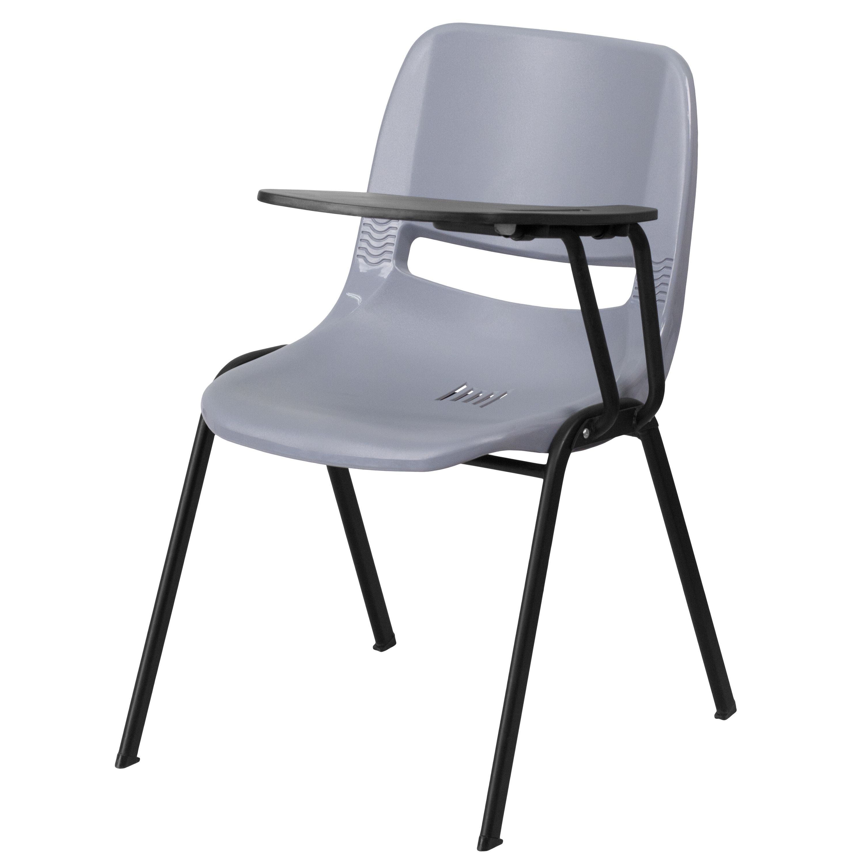 flash furniture rut eo1 gy ltab gg gray ergonomic shell chair with
