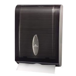 Greatneck Vista Center-Fold To Medium-Fold Paper Hand Towel Dispenser, 15.4H, Gray Transparent (Box of 1)