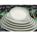 "Yanco GB-12 Green Band 10 3/8"" Oval Platter"