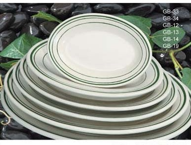 "Yanco GB-14 Green Band 12 1/2"" Oval Platter"
