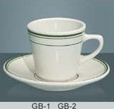 "Yanco GB-1 Green Band 3 3/8"" Tall Cup 7 oz."