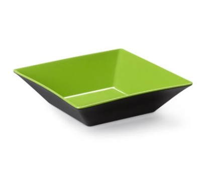 G.E.T. Enterprises ML-247-G/BK Brasilia Green/Black Melamine 2.5 Qt. Square Bowl 10""