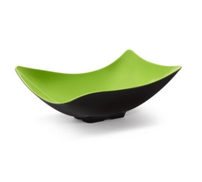 "G.E.T. Enterprises ML-220-G/BK Brasilia Green/Black Melamine 4 Qt. Flare Bowl 10.5"" x 16.25"""