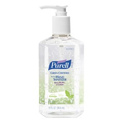Purell Green Certified Instant Hand Sanitizer Gel, 12 oz Pump Bottle 12/Carton