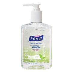 Green Certified Instant Hand Sanitizer Gel, 8 oz Pump Bottle, Clear