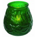 Green Glass Candle Holder with Flameless Tealight battery included (3.75D x 3.86H)