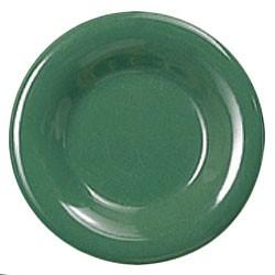 Green Melamine Wide Rim Round Plate - 12