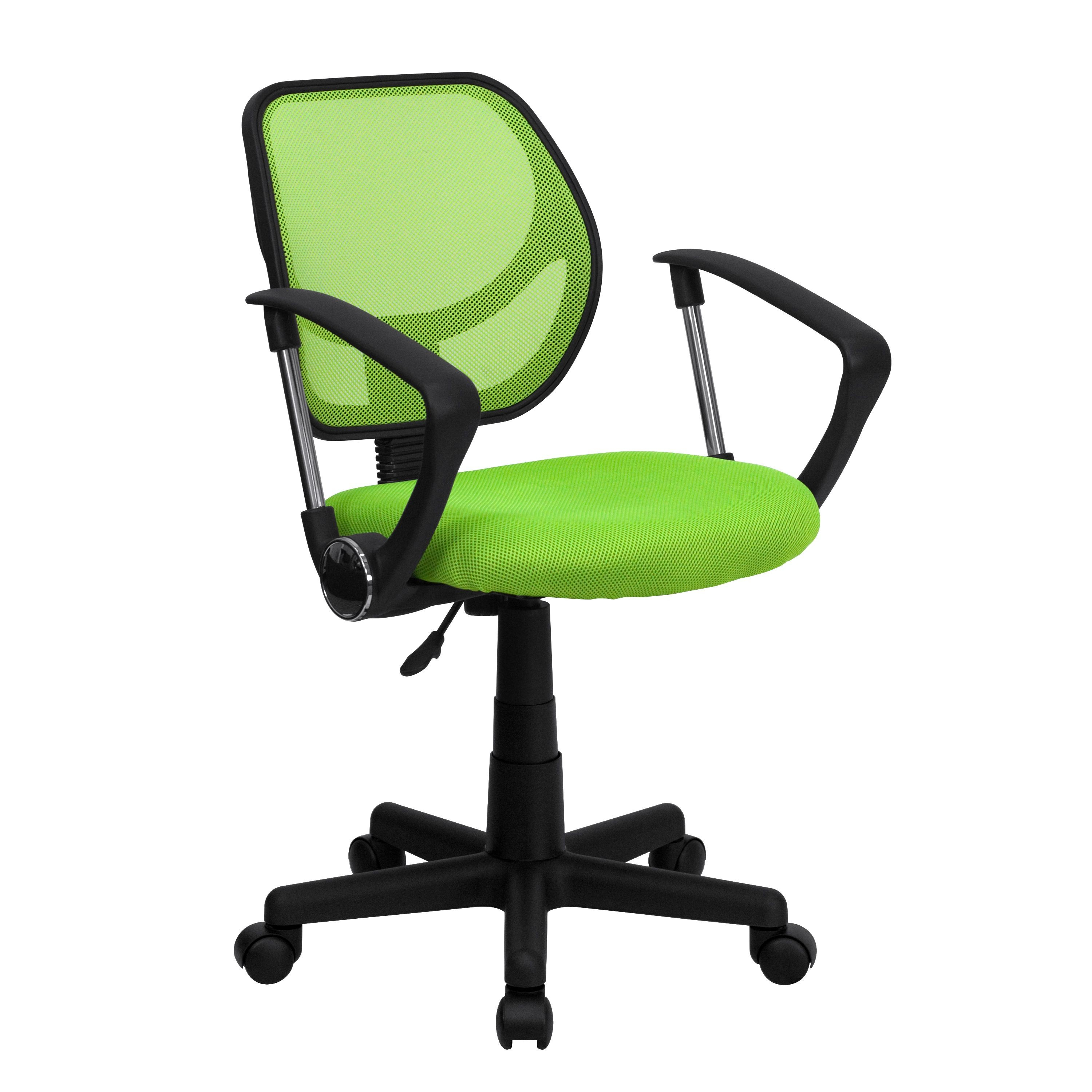 Flash Furniture WA-3074-GN-A-GG Green Mesh Computer Chair with Arms