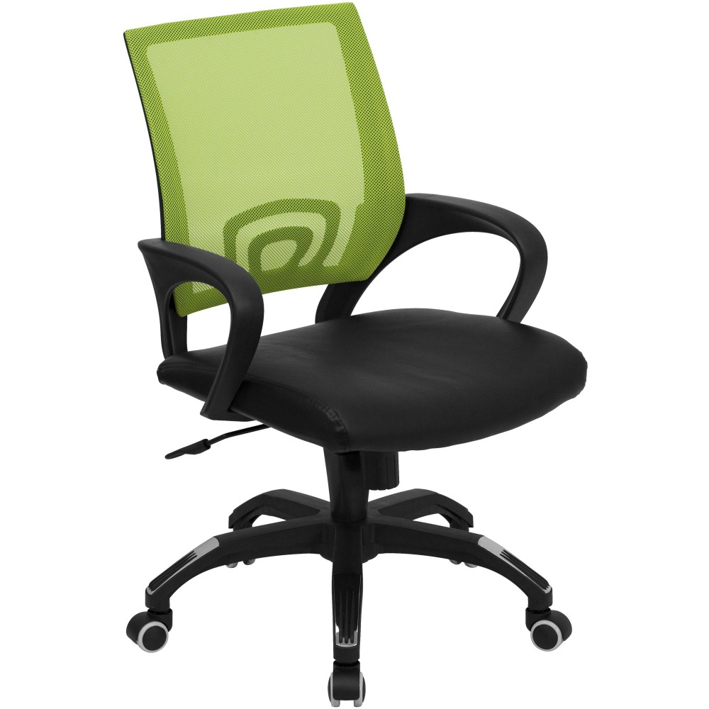 Green Mesh Office Chair with Black Leather Seat