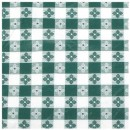 "Winco TBCO-70G Green Checkered Oblong Vinyl Table Cloth 52"" x 70"""