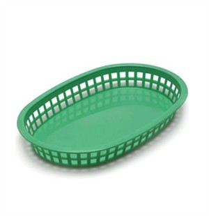Green Oval Plastic Chicago Platter Basket - 10-1/2