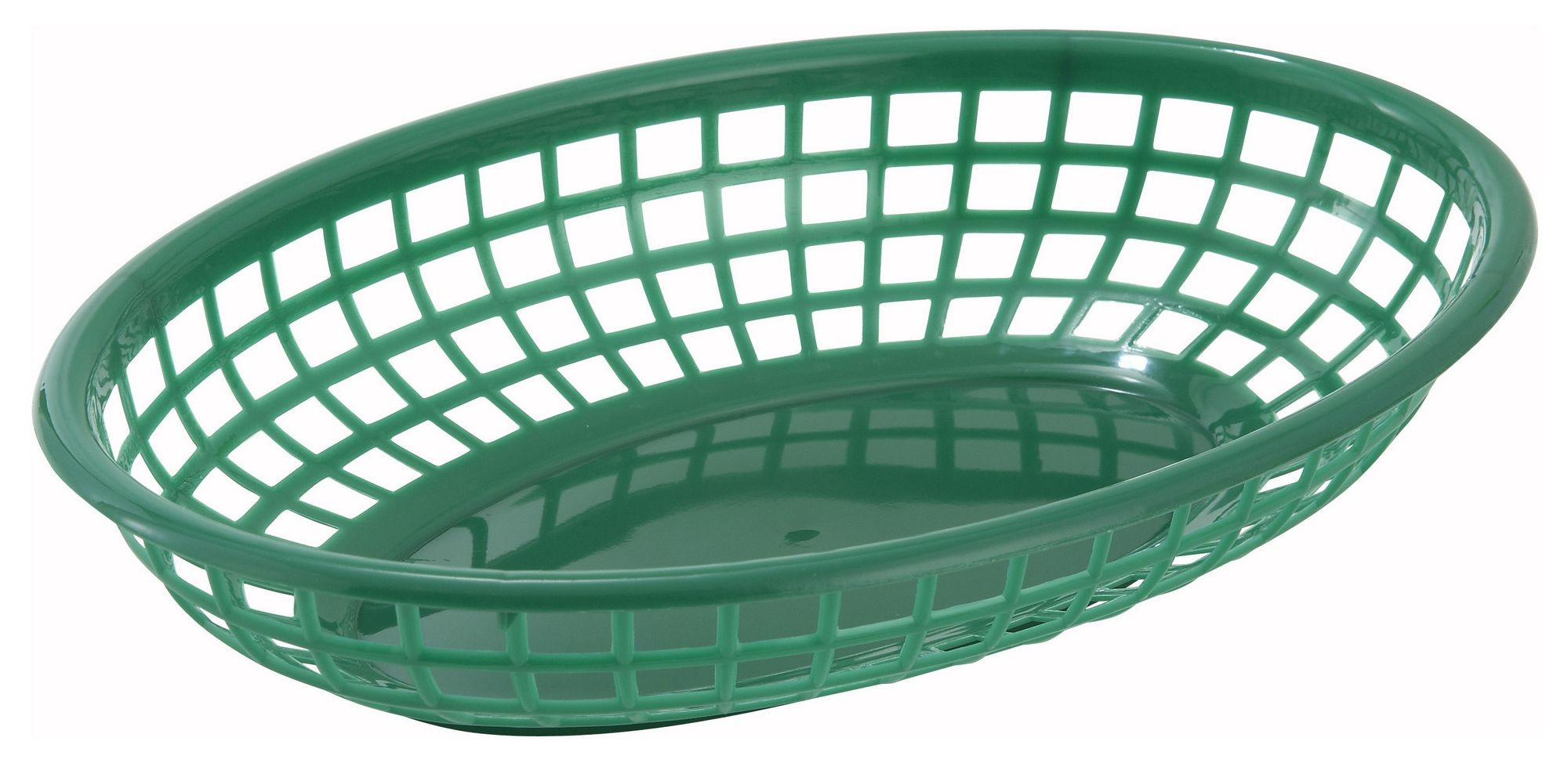 Winco PFB-10G Green Oval Plastic Fast Food Basket 9-1/2""