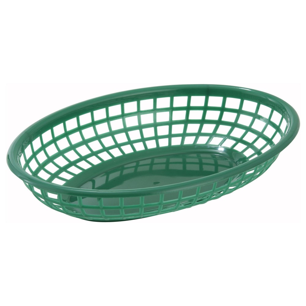 Green Oval Plastic Fast Food Basket - 9-1/2