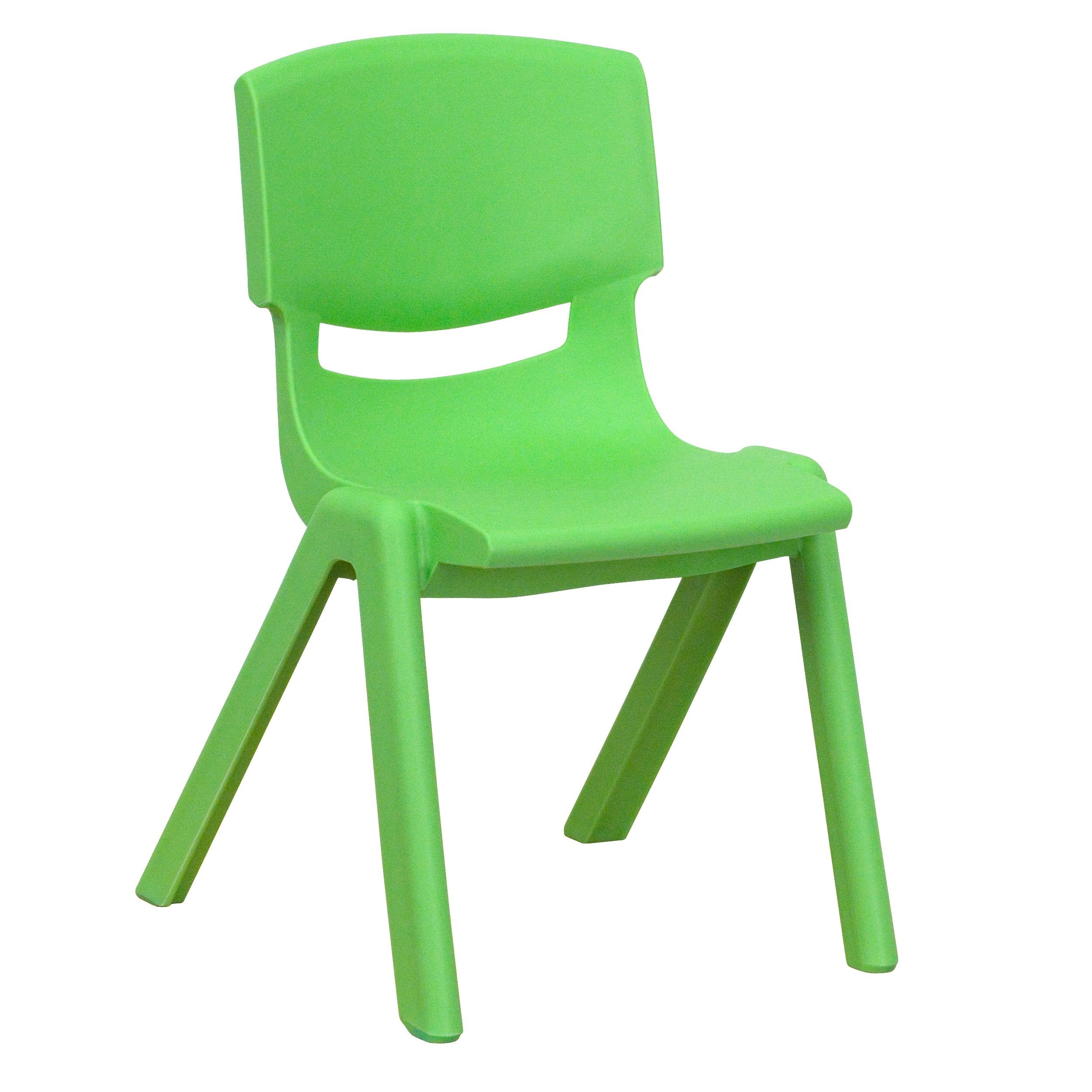 Flash Furniture YU-YCX-001-GREEN-GG Green Plastic Stackable School Chair with 12'' Seat Height