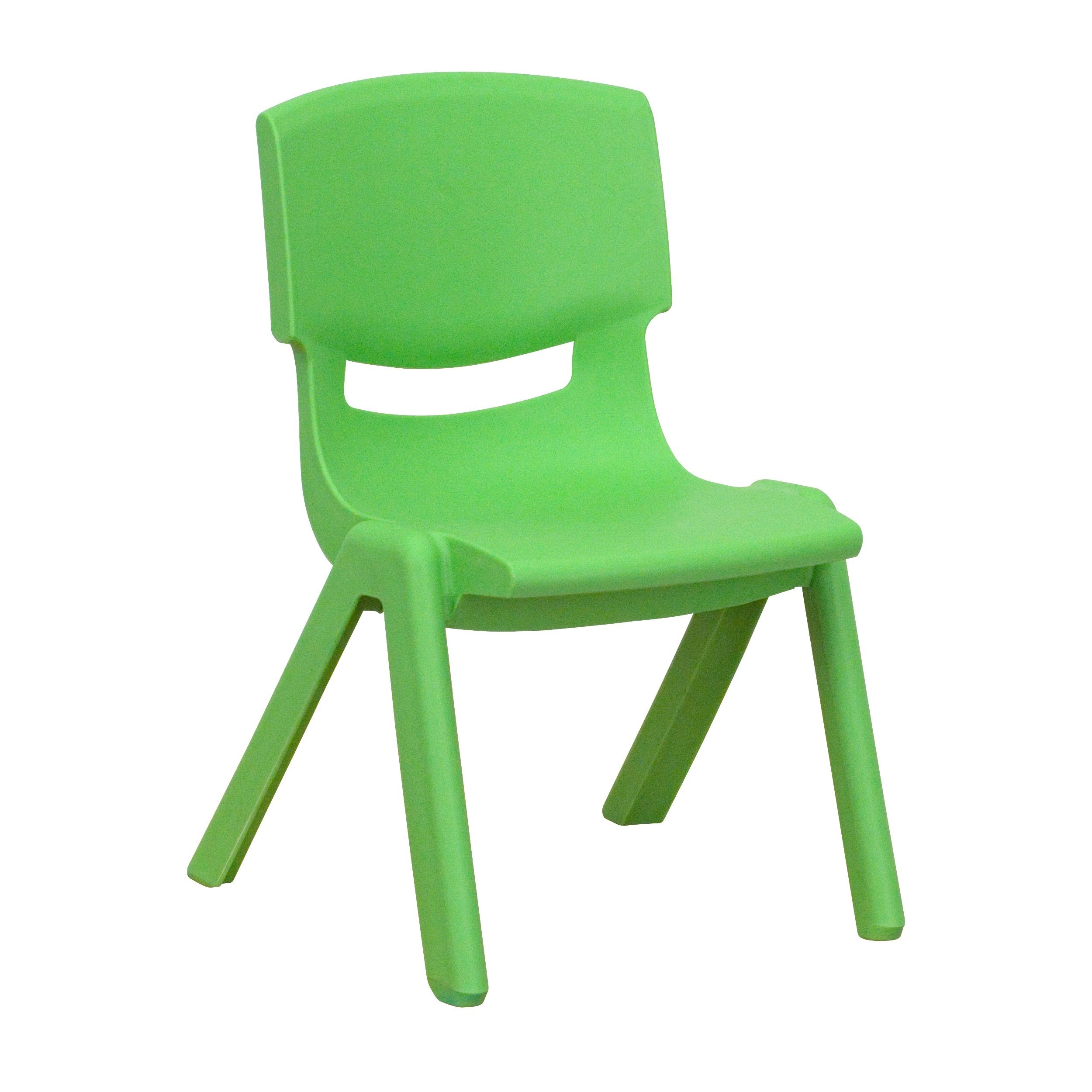 """Flash Furniture YU-YCX-003-GREEN-GG Green Plastic Stackable School Chair with 10.5"""" Seat Height"""