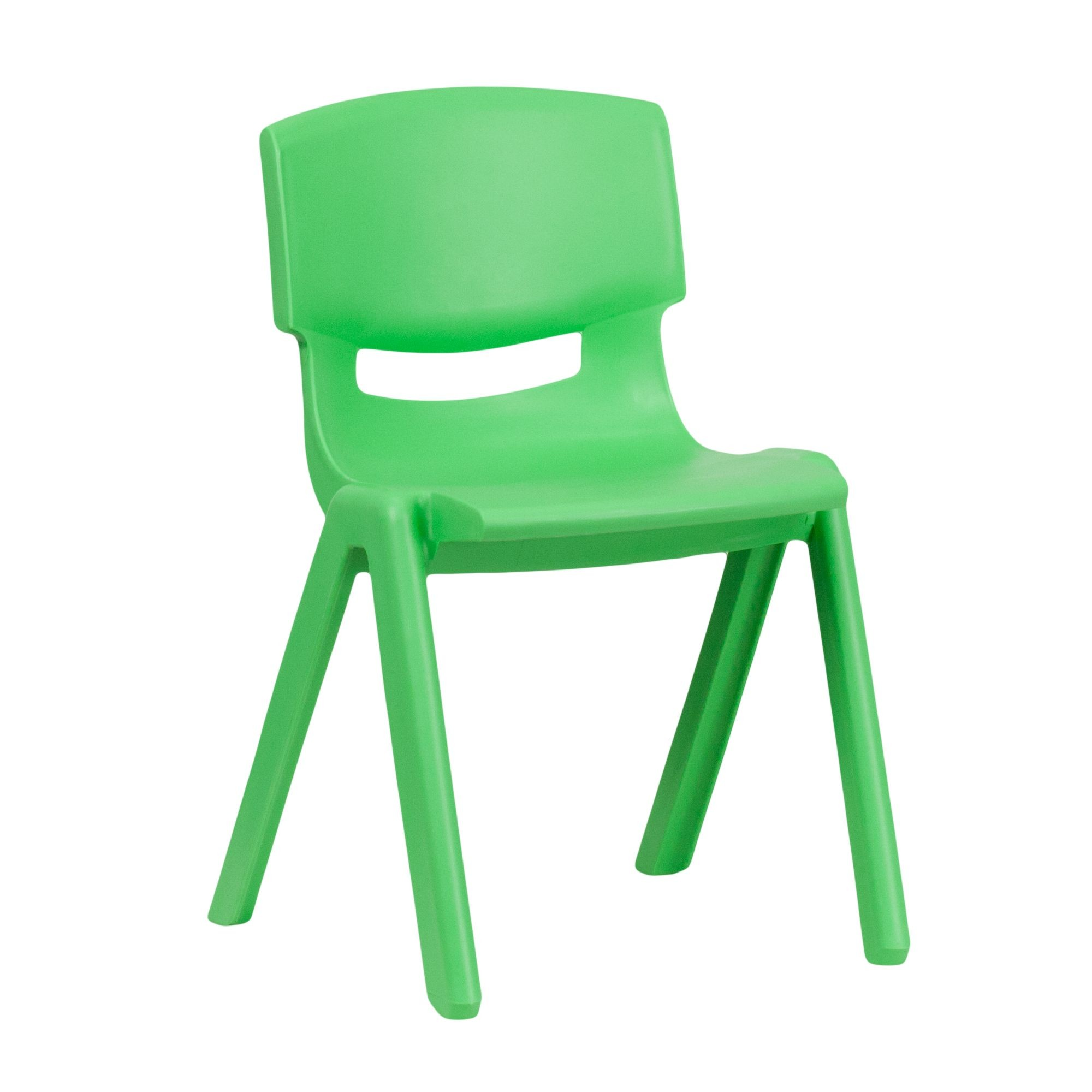 Flash Furniture YU-YCX-004-GREEN-GG Green Plastic Stackable School Chair with 13.25'' Seat Height