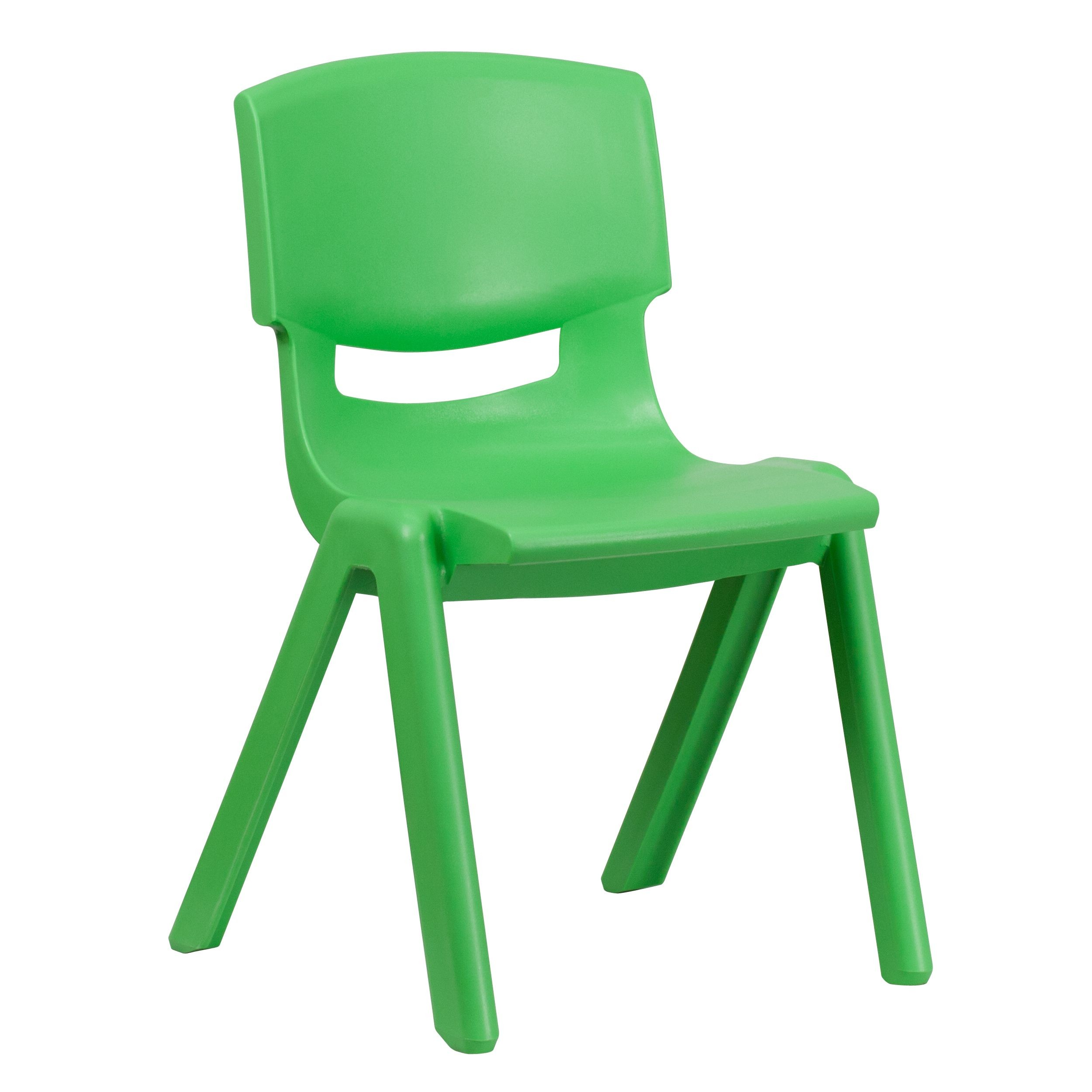 "Flash Furniture YU-YCX-005-GREEN-GG Green Plastic Stackable School Chair with 15.5"" Seat Height"