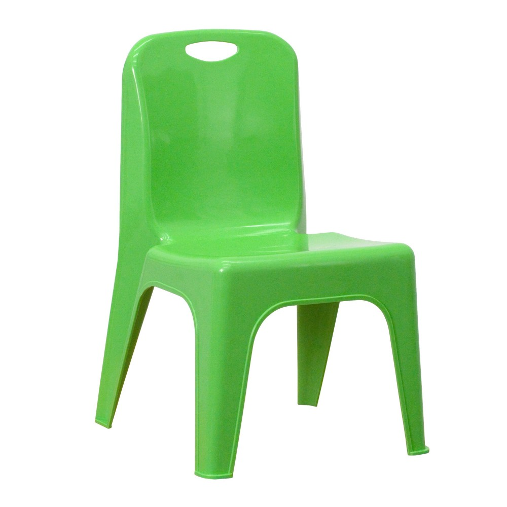 Flash Furniture YU-YCX-011-GREEN-GG Green Plastic Stackable School Chair with Carrying Handle and 11'' Seat Height
