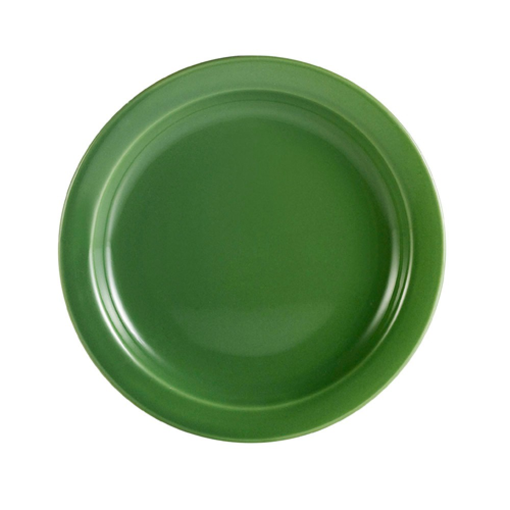 CAC China L-6NR-G Las Vegas Narrow Rim Green Plate 6 1/2""