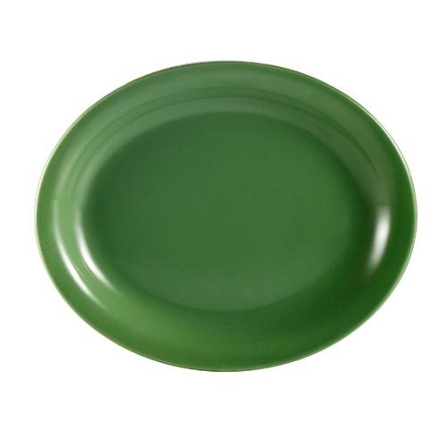 "CAC China L-14NR-G Las Vegas Oval Narrow Rim Green Platter, 13 1/4"""